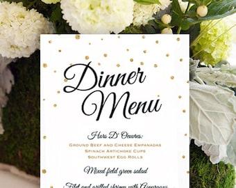 wedding menu printable, wedding menu template, wedding menu sign, gold wedding decor, menu cards, black and gold wedding