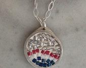 NFL New England Patriots Inspired Micro Mosaic Pendant