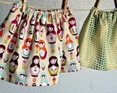 skirt - FREE shipping and ready to go -  Matryoshka Russian Dolls or teal zigtone dots summer 6-12 months, 12-18, 2T 3T 4T 5T 6