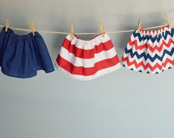 4th of July skirts coordinating sister outfits red white blue stripes baby girl skirts Navy nautical birthday sibling USA  Patriotic skirt