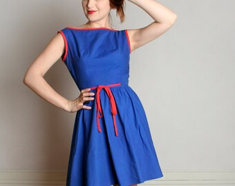 Vintage 1960s Blue Mini Dress - Classic A-Line Mr. Mort Cotton Wrap Dress - Small
