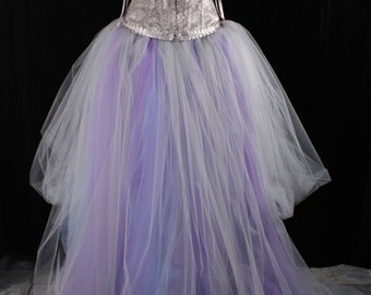 Romantic whisper tulle tutu skirt with trail fairytale Fantasy wedding formal pastel off beat bridal gray lavender blue  -All Sizes- SOTMD
