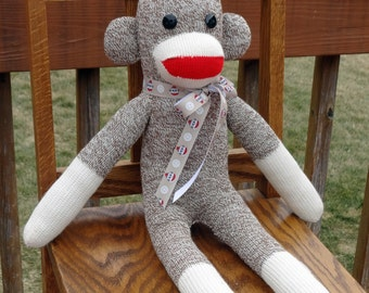 Sock Monkey Doll - Traditional handmade Rockford Red Heel Sock Monkey
