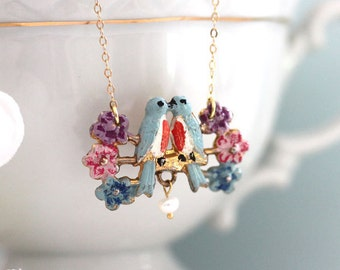 Vintage Bird Necklace Love Birds Necklace Colorful Bohemian Necklace One of a Kind