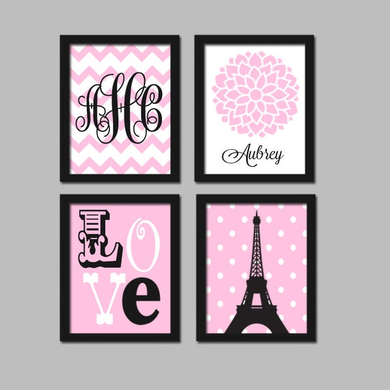 Paris wall art canvas or prints eiffel tower pink black baby for Pink wall art