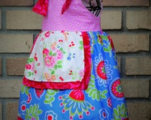 Girls Summer Dress Knot Straps Pink and Blue Sizes 2 3 4 5 6 7 8 Birthday Floral