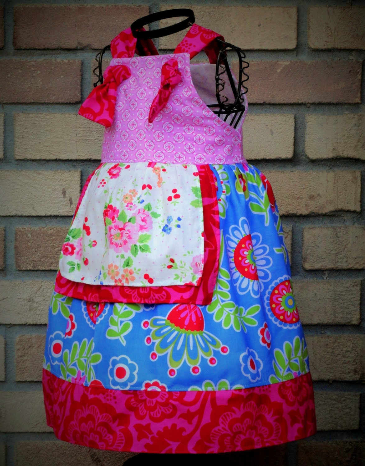 Girls summer dress knot straps coj christmas in by amievoltaire