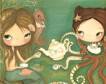 Mermaid Print Octopus Print Girls Having Tea Wall Art Nautical Print---Tea Under The Sea