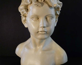 Large Statue Bust of Boy Creamy White