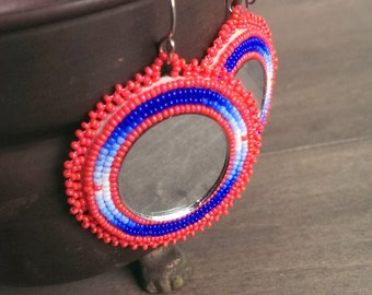 Native American applique beadwork earrings - beaded earrings - seed beaded earrings - coral and blue