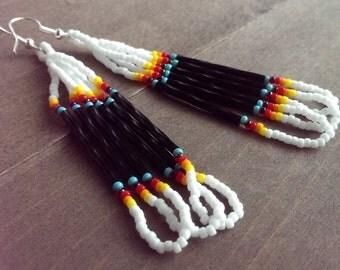 Native American beaded earrings - black and white earrings - seed beaded earrings