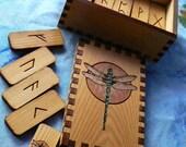 Painted Dragonfly Elder Futhark Rune Set