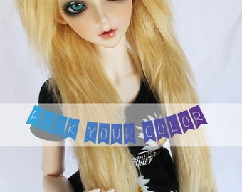 "BJD Doll wig SD Feeple 8.5"" long in front Pick Your Color fake fur wig"