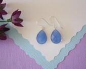 Blue Teardrop Earrings, Sterling Silver, Blue Stone Chalcedony, Bridesmaid Earrings, Small, Tear Drop Gemstone, Heart Shape, Dangle Earrings