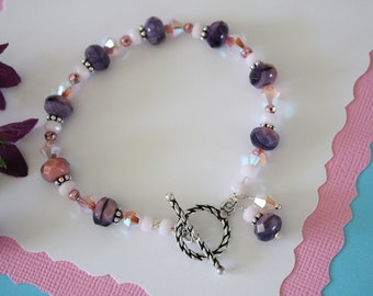 Purple and Pink Bracelet, Pink Bracelet, Purple Bracelet, Sterling Silver, Crystal Bracelet, Pastel Bracelet, Mothers Day Gift