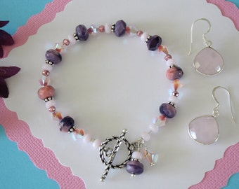 Pink and Purple Bracelet, Purple Bracelet, Pink, Pearl Bracelet, Crystal Bracelet, Pink Earrings, Bracelet and Earring Set, Pink Set