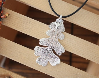 Oak Leaf Silver Medium, Real Leaf, Oak Leaf, Oak Leaf, sterling silver, Lacey Oak, Organic, Nature Necklace, LL43
