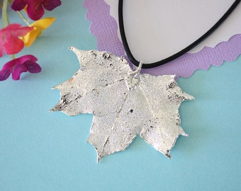 Real Sugar Maple Leaf, Real Silver Leaf, Maple Leaf Necklace, Canadian Leaf, Sterling Silver, LL140