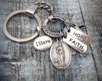 St. Agatha Breast Cancer Survivor Key Chain, Patron Saint of Breast Cancer Patients, I Have Hope, Faith