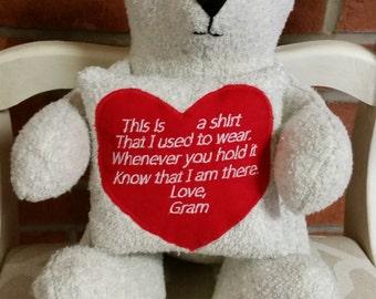 Memory Bear, memory gift, personalized bear
