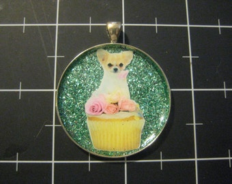 Pink Rose Chihuahua Cupcake Pendant, 50% goes to the current selected animal charity