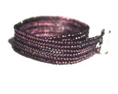 Purple small Seed beads stitched bracelet magnetic clasp for her for him handmade unique light purple