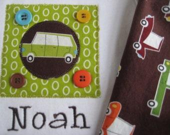 Boy's Outfit Cars Trucks Personalized for Baby Boy