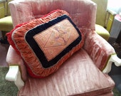 Large Antique Pillow Edwardian Arts and Crafts Era Velvet