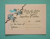 Vintage 1920's Party Invitation with Bluebird