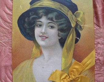 Vintage Chocolate Candy Box with Edwardian Woman Lithograph