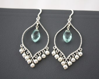 Pearl Chandelier Earrings,Aquamarine Chandelier Earrings,Silver Chandelier Earrings, Blue and White Chandelier Earrings,Delicate Earrings