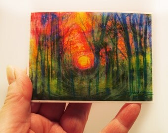 Art, aceo, Atc, Spring sunrise, Fine art photograph, mixed media photograph, miniature art, Signore