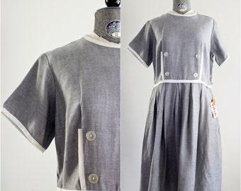 Vintage Sailor Dress • 1950s Dress • 50s Sailor Dress • Plus Size 1950s Dress • 50s XL Dress • 1950s Day Dress • 1950s Plus Size Dress • XL