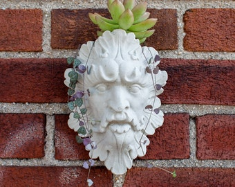 Face Wall Planter, Garden Head Planter, Leaf Man Face Design, Garden Decor