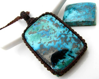 Azurite Necklace, Azurite, Chrysocolla,  Macrame jewelry,  Funky finds,  Yoga jewelry, body mind spirit, Unique gift, blue lover, blue