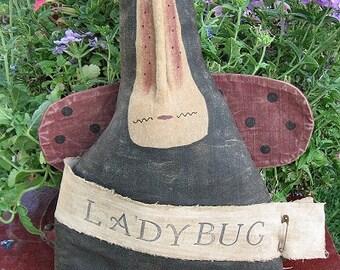 Miss Ladybug EPATTERN...primitive country cloth doll craft spring summer digital download sewing pattern...PDF...1.99
