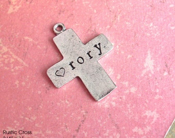 Rustic Cross. Customize your Faith inspired, antiqued metal charm. Silver plate. Hand-stamped cross shape pendant ALWAYS christmas religious