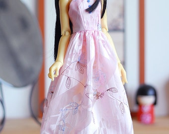 Pink embroidered summer dress  - Slim Mini MSD Minifee Supia BJD clothes