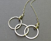 Silver 3 Ring Circle Necklace -  Sterling Silver, Interlocked Circles, Minimalist, Fused Link Necklace