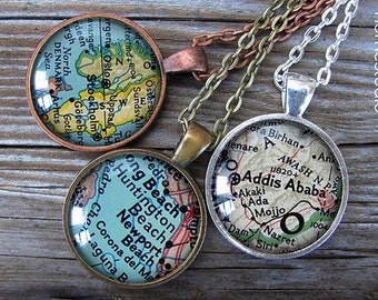 Custom Map Location : Glass Dome Necklace gift present by HomeStudio. Round art photo pendant jewelry. Available as Key Ring Keychain