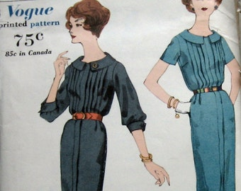 Vintage 1950s Vogue Womens Dress Pattern With Tucked Bodice Sz12