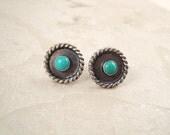 Button earrings. Turquoise. Sterling silver. Southwestern. Twisted rope. Bezel set. Stud earrings. Large. Ear nuts. SRAJD. Great gift idea