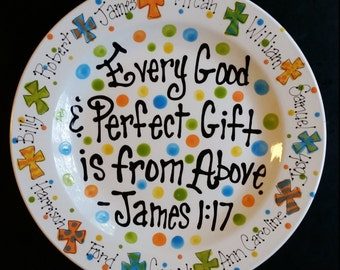 "Personalized 12"" James 1:17 Platter. Wonderful gift for mom or grandma to celebrate all her special loved ones!"