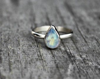 Rainbow moonstone stacking ring - sterling silver - teardrop ring - dainty ring