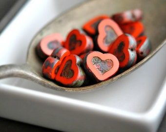 Last Last - Love Letters - Czech Glass Beads, Opaque Red, Orange, Picasso Hearts 14x12mm - Pc 4