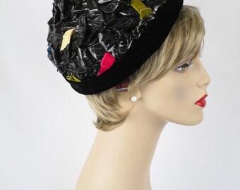 1960s Black Cello Straw Asymmetrical Pixie Hat by Amelia