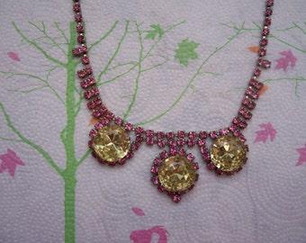 SALE - Vintage Juliana D&E -DeLizza Elster Pink and Yellow Rhinestone Bib Necklace Designer Costume Jewelry Estate Jewelry