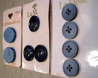 Big Blue Button Lot, Variety of Blue Buttons, BUTTON SALE, Vintage Button Assortment, Matte Blue Buttons, Denim Buttons, Blue Cardigan Set