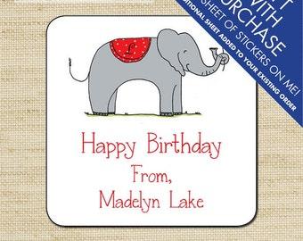 Elephant Gift Tags, Kids Gift Label, Birthday Stickers, Personalized Labels, Personalized Gift Stickers, Elephant