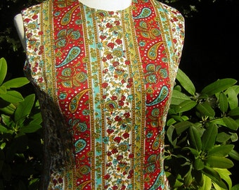 Vintage Paisley Dress 1960s Curvy Shift Nylon Jersey - Turquoise & Red Cool Chic Size S to M - Cay Artley
